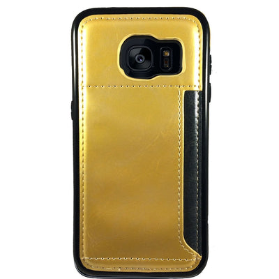 Leather Credit Card Case for Samsung S6 Edge - Gold