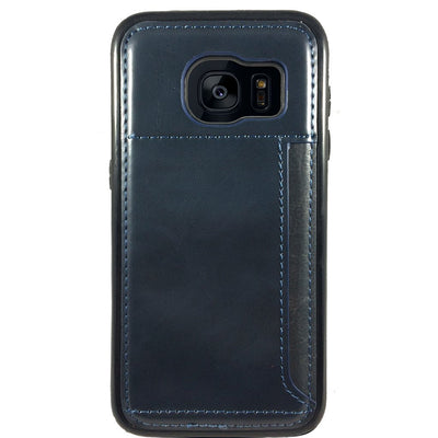 Leather Credit Card Case for Samsung S6 Edge - Navy