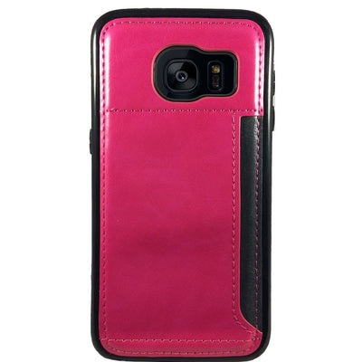 Leather Credit Card Case for Samsung S6 Edge - Pink