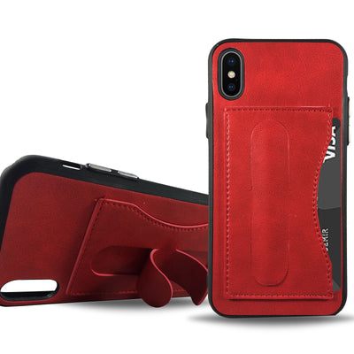 Leather Stand Case for iPhone X - Red