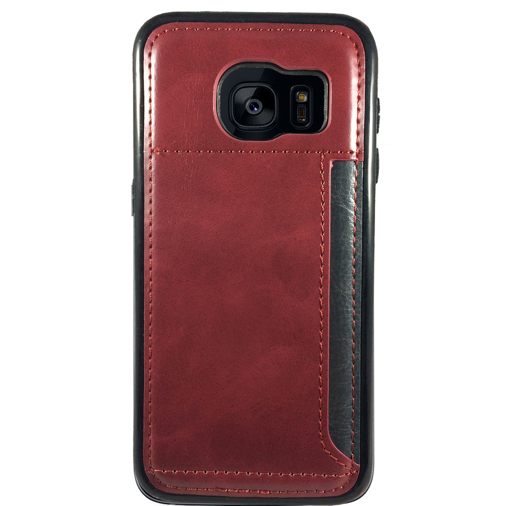 Leather Credit Card Case for Samsung S7 - Red