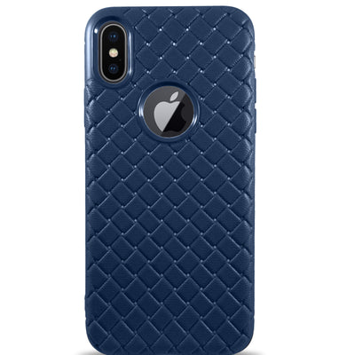 Dama Texture Soft Leather Case for iPhone X - Navy Blue