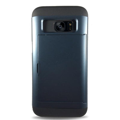 Protective Rugged Slide Card Samsung Galaxy Cases - Navy Blue