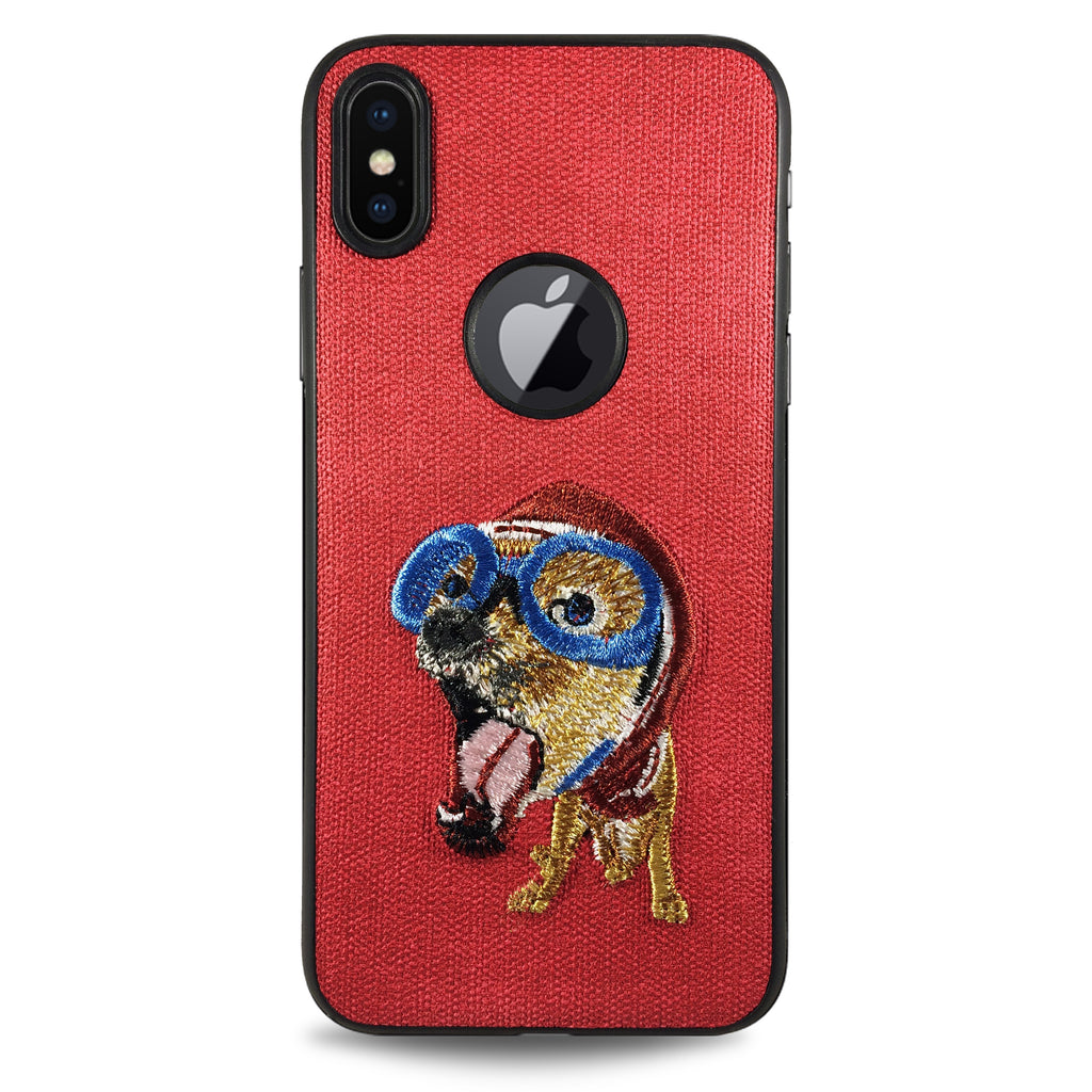 Pet Flying Dog Case for iPhone X - Red