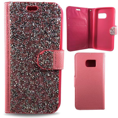 Wallet Case Diamond Bling Samsung Galaxy Case - Pink