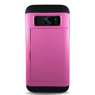 Protective Rugged Slide Card Samsung Galaxy Cases - Pink