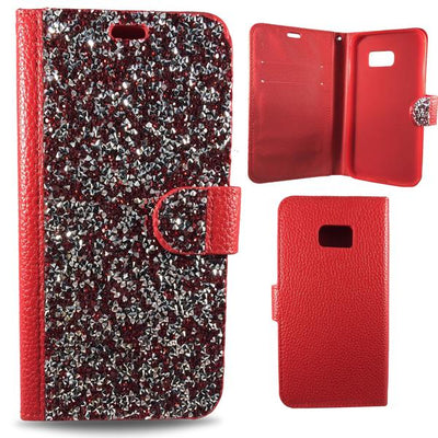 Wallet Case Diamond Bling Samsung Galaxy Case - Red