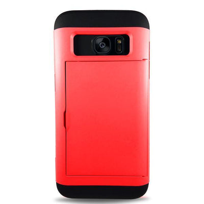 Protective Rugged Slide Card Samsung Galaxy Cases - Red