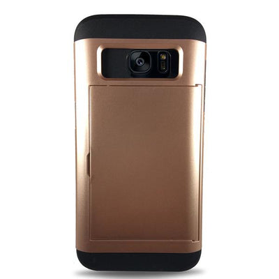 Protective Rugged Slide Card Samsung Galaxy Cases - Rose Gold