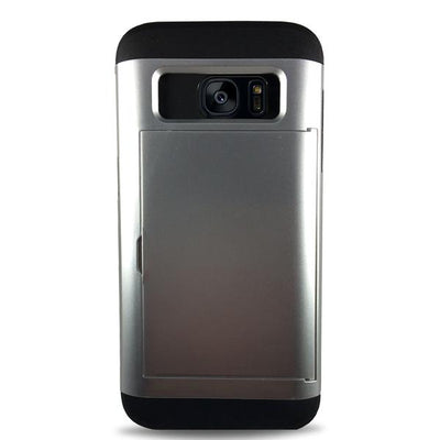 Protective Rugged Slide Card Samsung Galaxy Cases - Silver