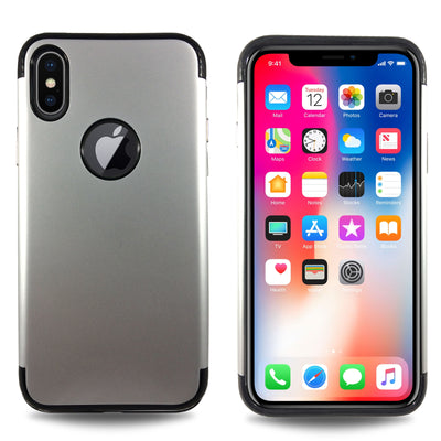 Carbon Trim Slim Case for iPhone X - Silver