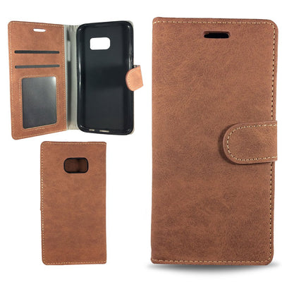 Suit Wallet Case for Samsung S6 Edge - Brown