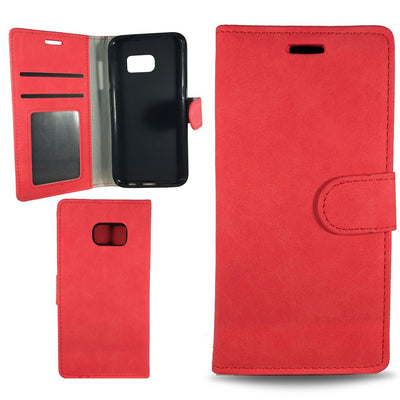Suit Wallet Case for Samsung S6 Edge - Red