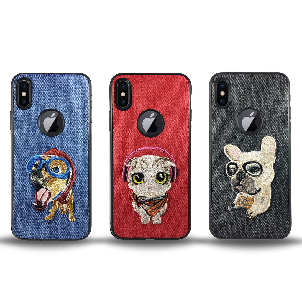 Pet Lazy Dog Case for iPhone X - Red