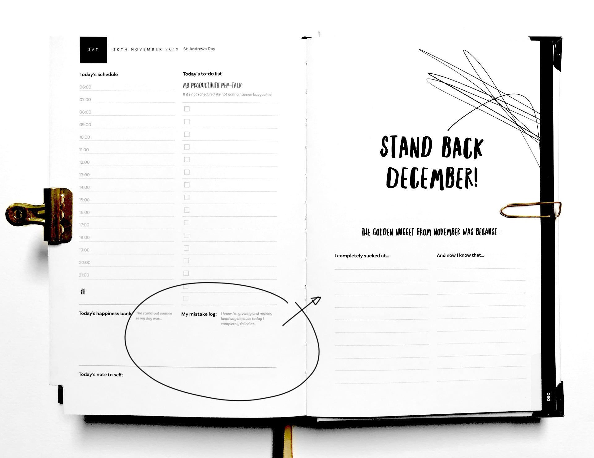 The Imperfect Life® Planner 2019 – daily and monthly mistake log