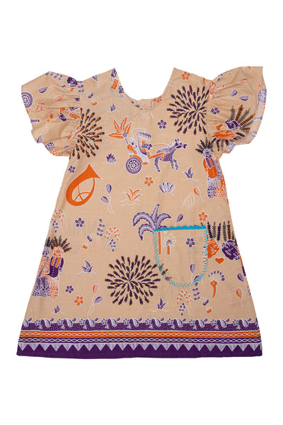 TINI FINI Cream Hopscotch Dress