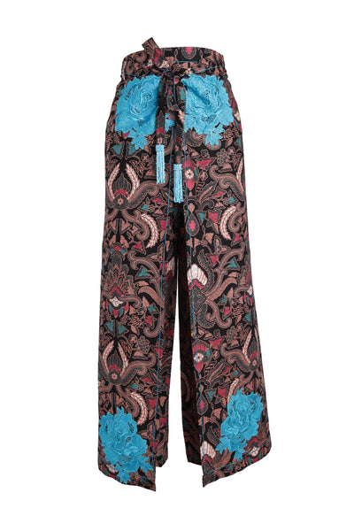 Midnight Buds Batik Pant with Turquoise Rosette