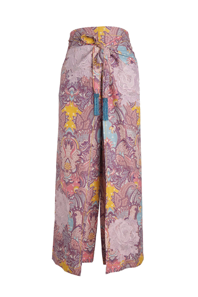 Patterned Patchwork Batik Pant with Lilac Rosette
