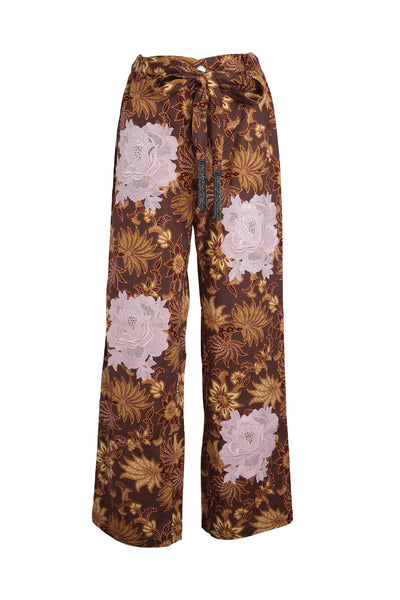 Mauve Flower Easy Breezy Batik Pant with Mauve Rosette