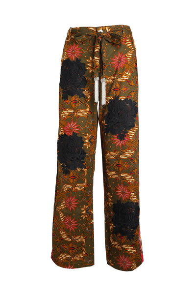 Olive Easy Breezy Batik Pant with Black Rosette