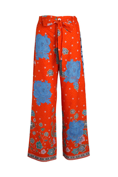 Orange Floral Easy Breezy Batik Pant with Blue Rosette