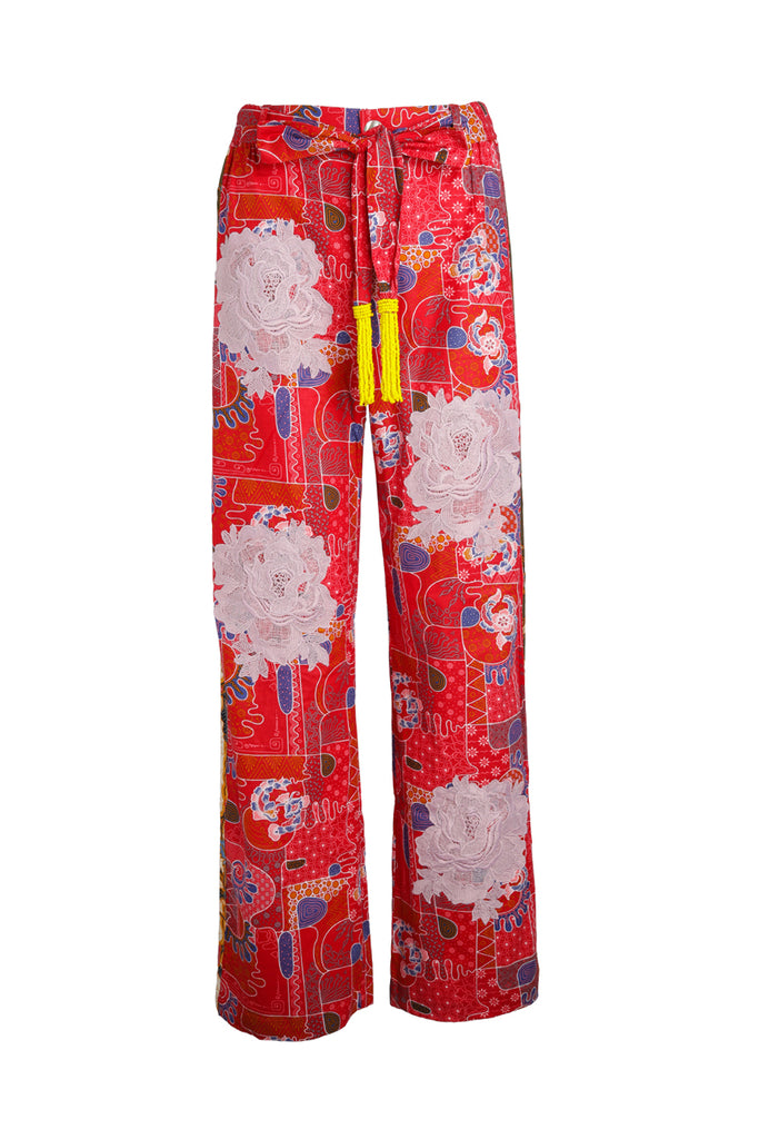 Red Geo Easy Breezy Batik Pant with Mauve Rosette