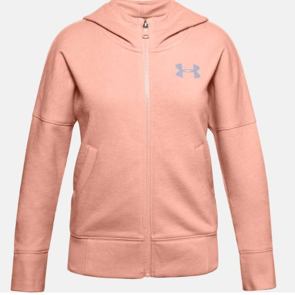 UNDERARMOUR GIRLS RIVAL FZ HOOD YOUTHS PINK