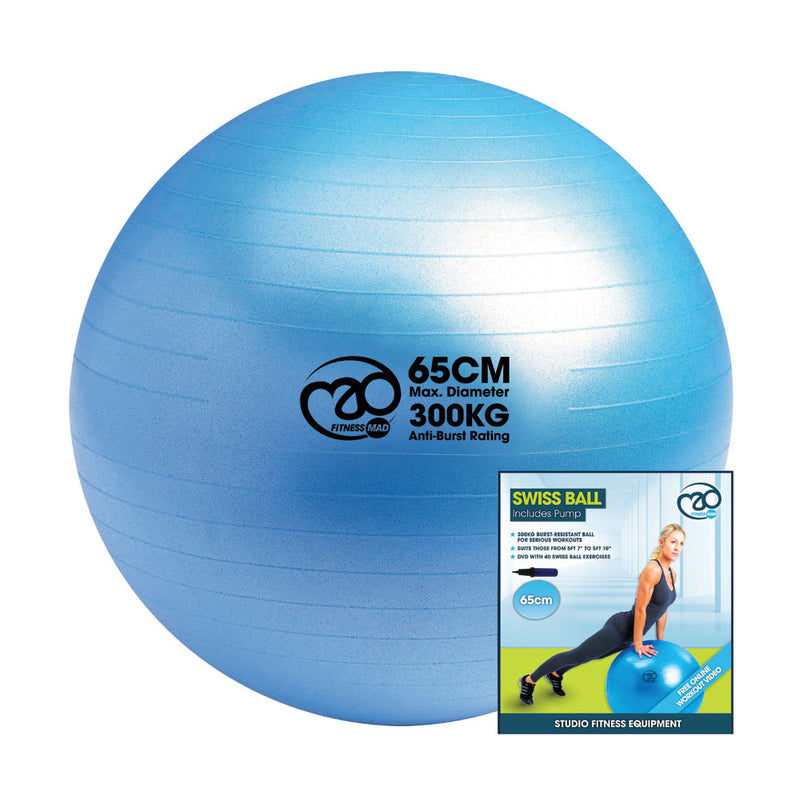 YOGA-MAD 125KG BURST RESISTANT SWISS BALL & PUMP 6 ASSORTED
