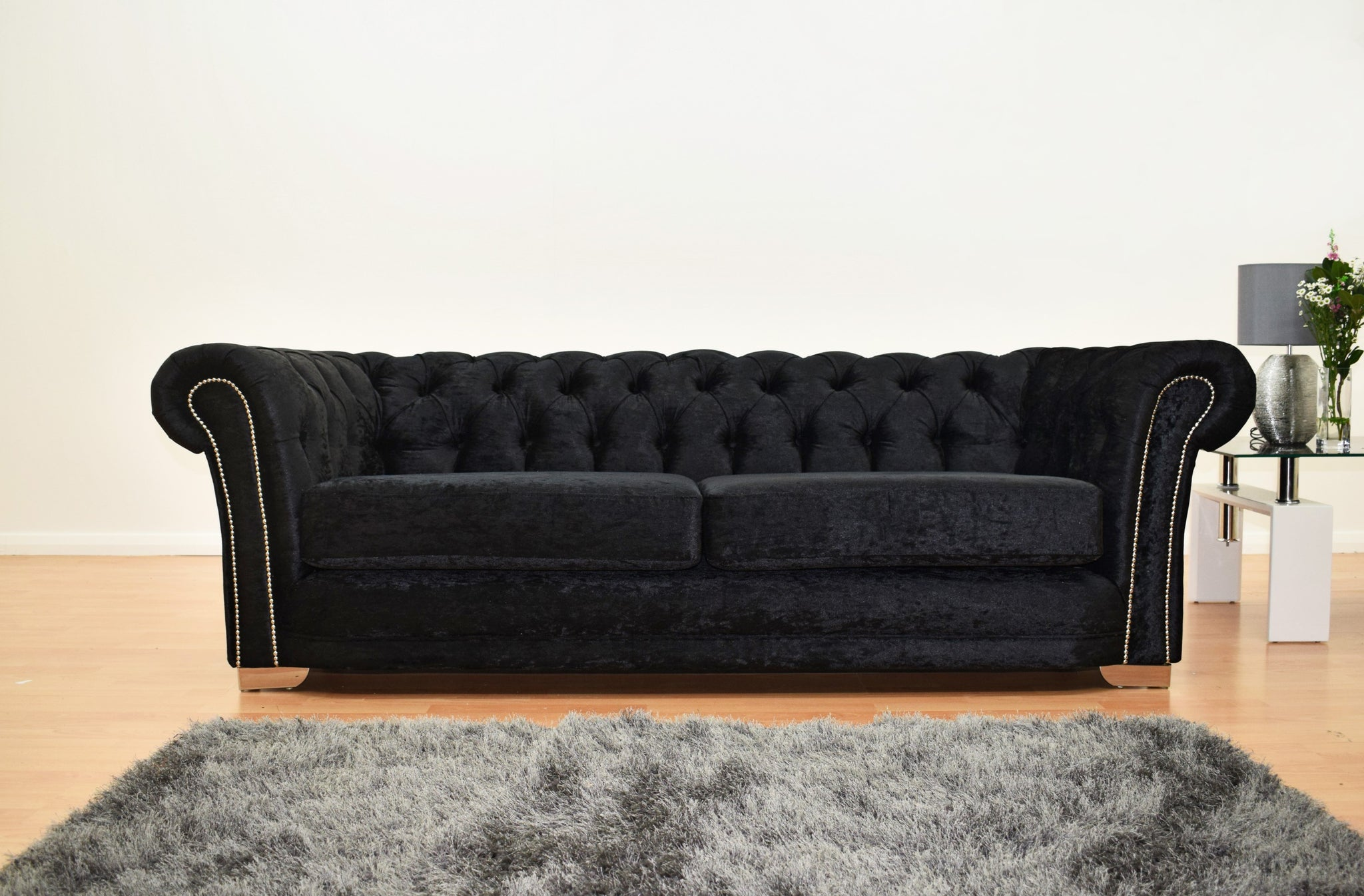 Chesterfield Sofa U0026 Cuddle Chair   Velvet Black
