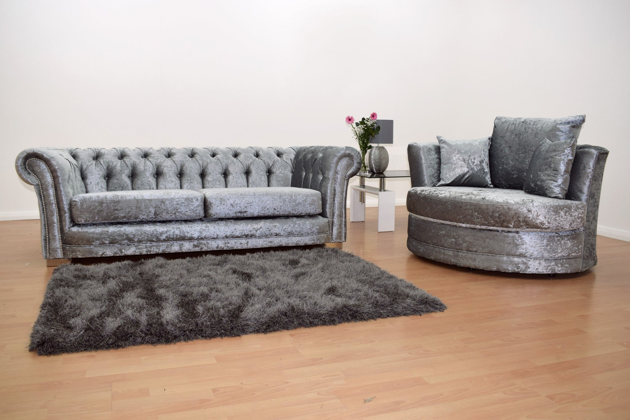 Chesterfield 3 Seater Sofa With Cuddle Chair Velvet Silver
