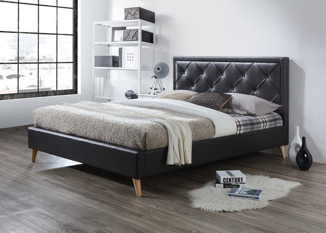 sareer york brown leather bed - Leather Bed