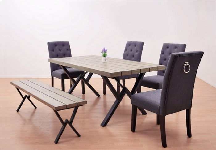 Oxford Dining Table With Dark Grey Manor Knocker Chairs