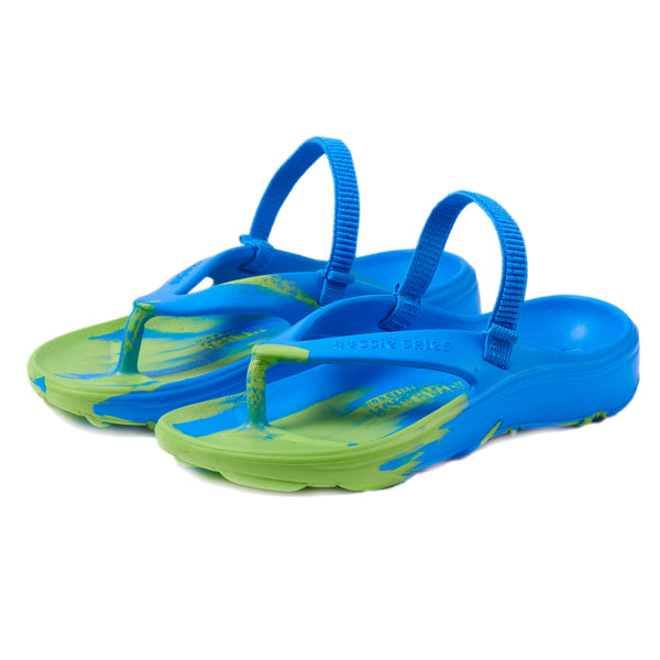Aussie soles, kids flip flops, children flip flops, arch support flip flops, blue flip flops, kids vegan flip flops, green flip flops, arch support sandals, orthotic shoes