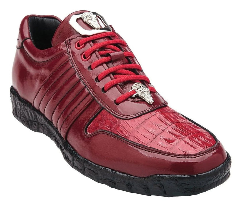 Belvedere Astor Genuine Crocodile and Calfskin Men's Sneaker in Red
