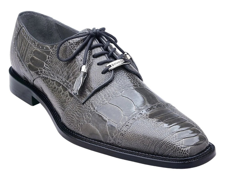Belvedere Batta genuine ostrich leather men's shoe in Gray