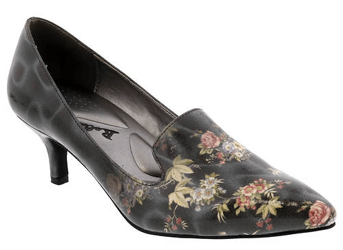 The Bellinin Bobcat Kitten Heel Patent Leather Women's Pump in Black, White, and Peach Floral