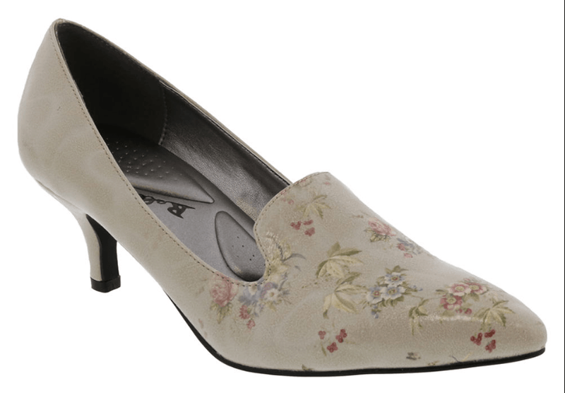 The Bellinin Bobcat Kitten Heel Patent Leather Women's Pump in Grey, Pink and Green Floral