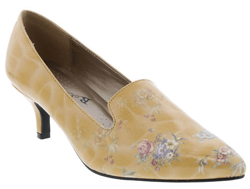 The Bellinin Bobcat Kitten Heel Patent Leather Women's Pump in Mustard, Pink and Lilac Floral