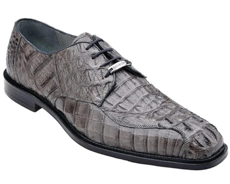 Belvedere Chapo Genuine Hornback Crocodile Men's Dress Shoe in Gray