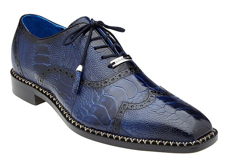 Belvedere Alex Men's Genuine Ostrich Wing-Tip, Lace up Dress Shoe in Antique Royal Blue.