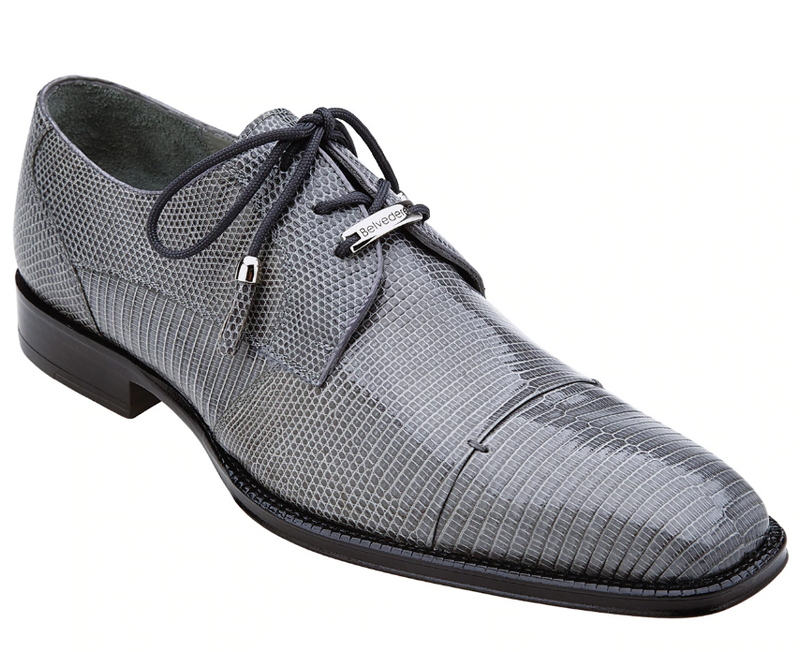 Belvedere Karmelo Genuine Lizard Men's Dress Shoe in Gray