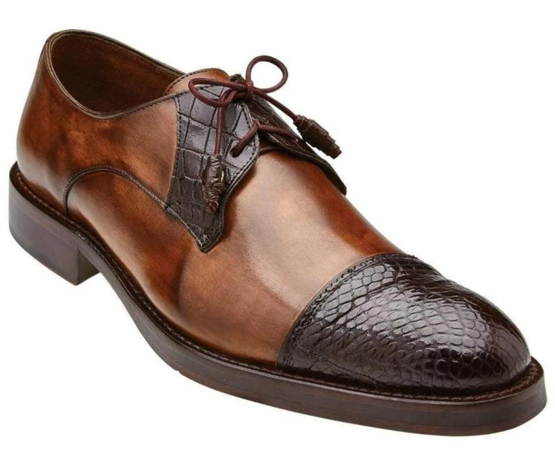 Belvedere Bala Genuine Alligator and Calf Men's Cap-toe Derby Dress Oxford Shoe in Antique Almond