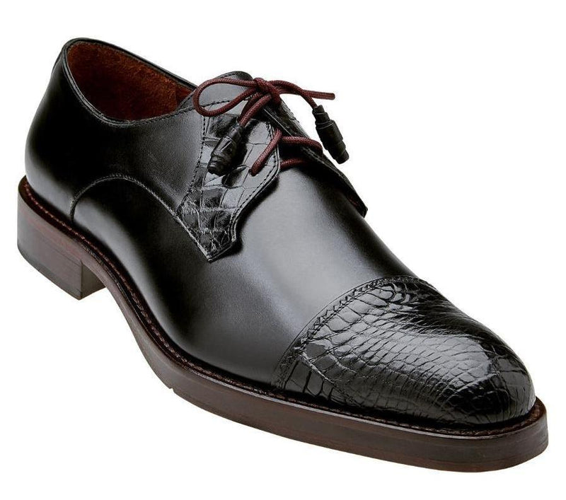Belvedere Bala Genuine Alligator and Calf Men's Cap-toe Derby Dress Oxford Shoe in Black