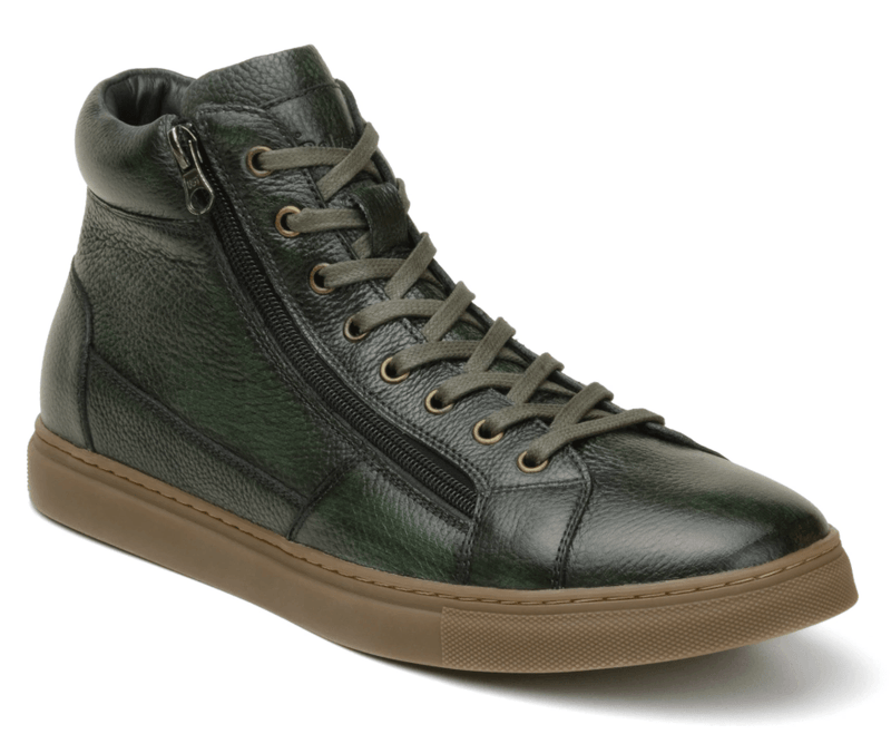 Belvedere Baltazar Genuine Calf Leather High Top Sneaker in Antique Green