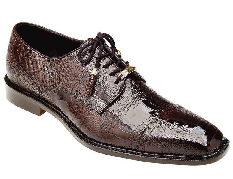 Belvedere Batta Men's Genuine Ostrich Leather Dress Shoe in Chocolate