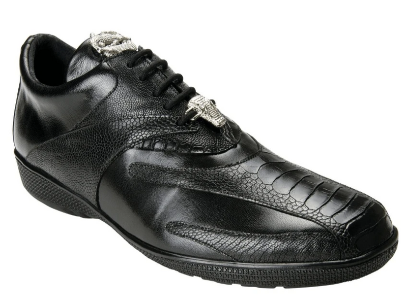 Belvedere Bene Genuine Ostrich and Calf Leather Men's Tie Sneaker in black