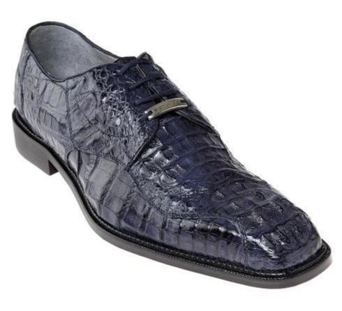 Belvedere Chapo Genuine Hornback Crocodile Men's Dress Shoe in Navy