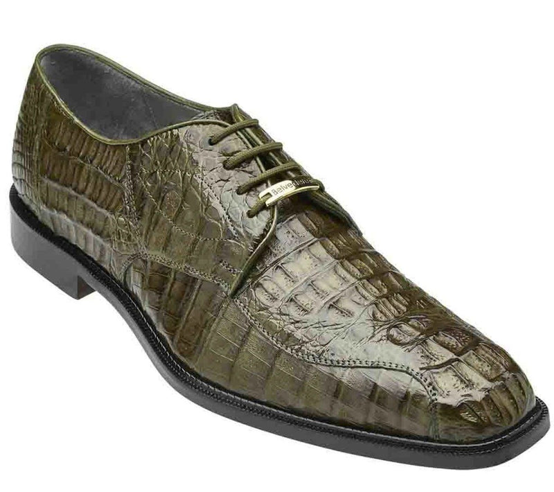 Belvedere Chapo Genuine Hornback Crocodile Men's Dress Shoe in Olive