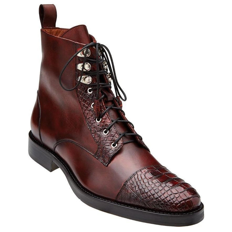 Belvedere Gino Genuine Alligator and Italian Calf Men's Dress Boot in Antique Wine