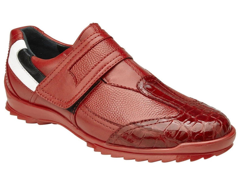 Belvedere Mikele Genuine Caiman and Soft Calf Men's Sneaker in Red